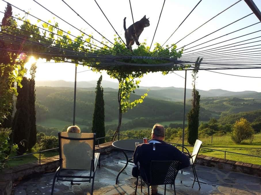 Het is een waar genoegen om bij zonsondergang op het derde terras van het authentieke vakantie appartement Camino te zitten met zo'n bijzonder uitzicht op het dal