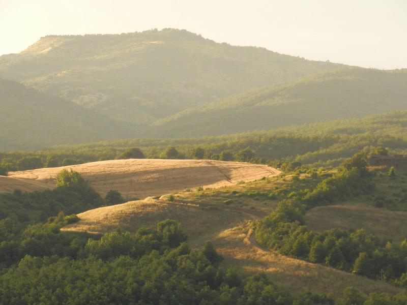 Glooiend heuvellandschap rondom Polmone, een agriturismo of appartementen