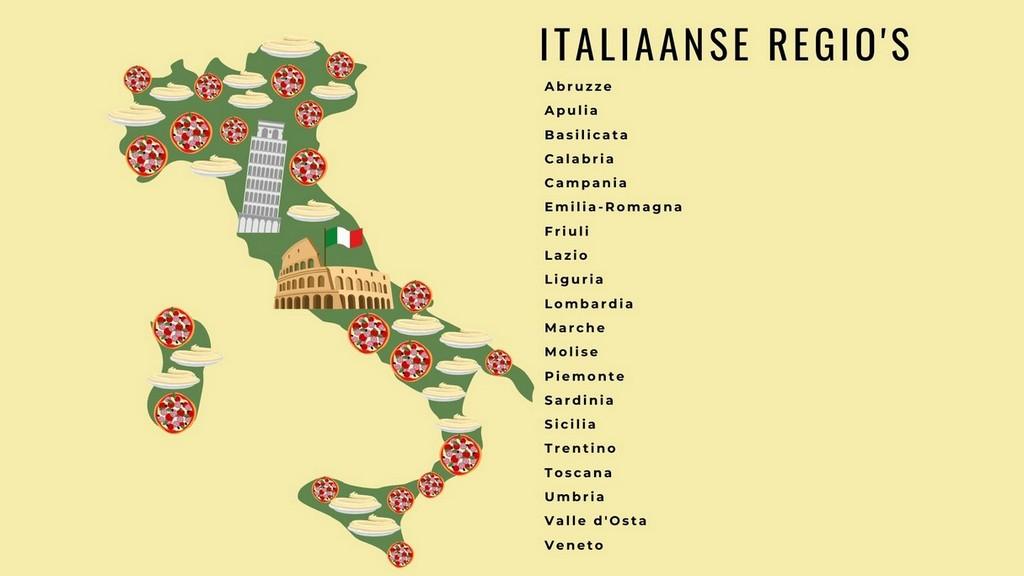 20 verschillende Italiaanse regio's