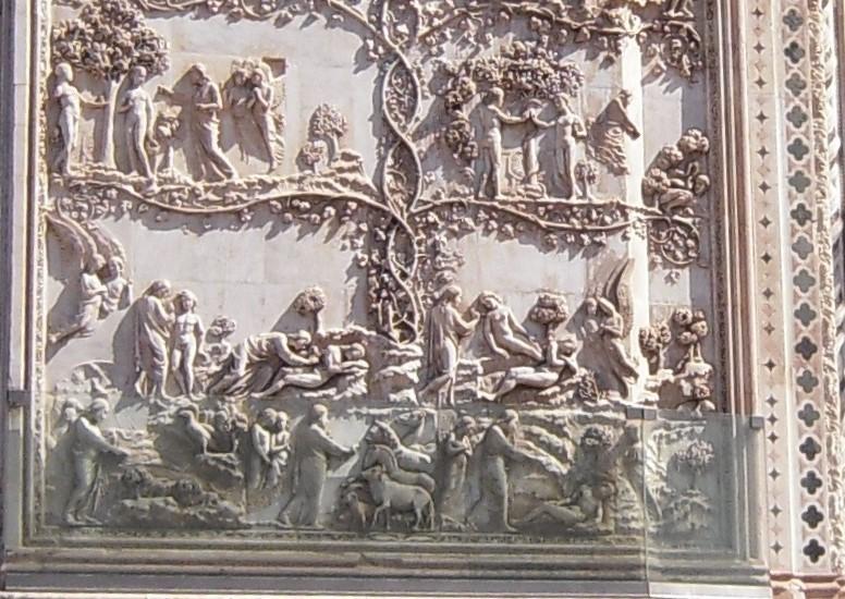 Scheppingsverhaal op de voorgevel van de Dom van Orvieto