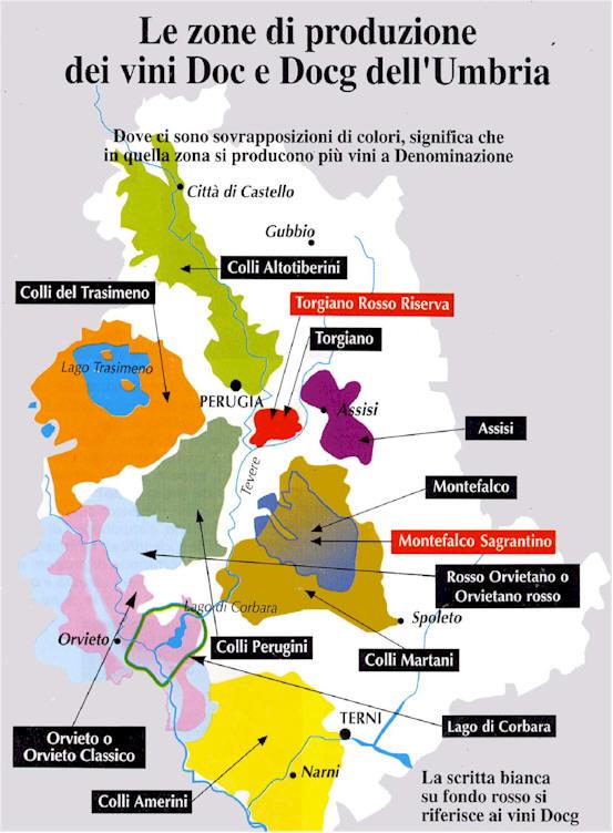 Kaart van de productie gebieden van DOC en DOCG wijnen in de regio Umbrië